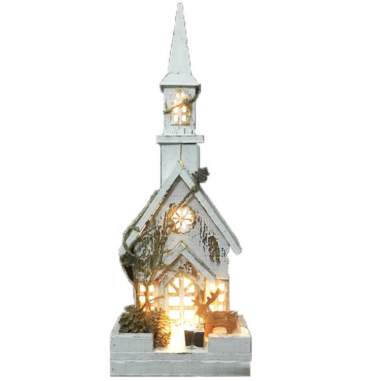 New arrive big size Led lighted religious scene Wooden church house Christmas table decoration