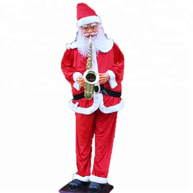 Life size Saxophone musical dancing Santa Clause figurine outdoor Christmas Decoration with fabric cloth