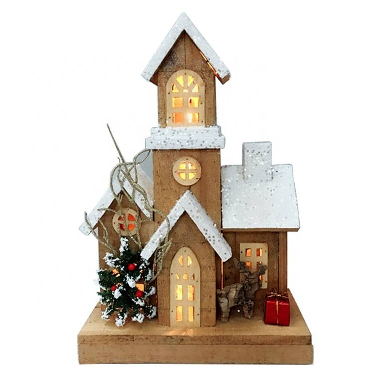 New Arrival China Christmas Village House Sets - OEM noel home indoor decoration Wooden Led Lighted Christmas church house – Melody