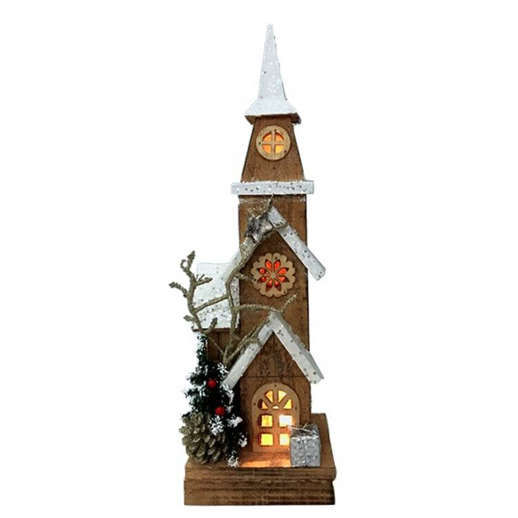 Seasonal tall Wooden led lighted Christmas village house Xmas decoration
