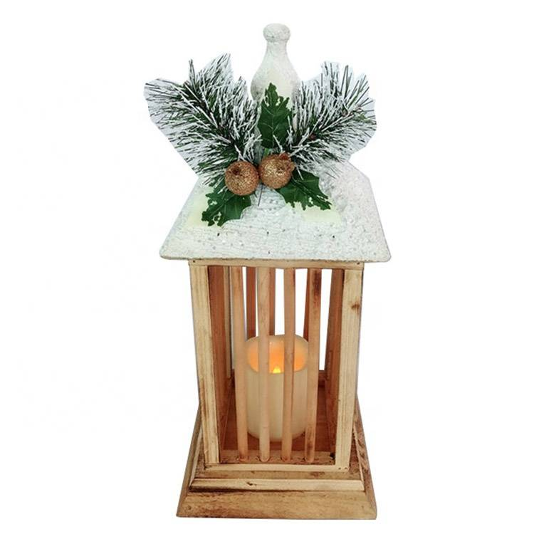 Noel wooden Xmas decoration Christmas lantern Led Candle holder Featured Image
