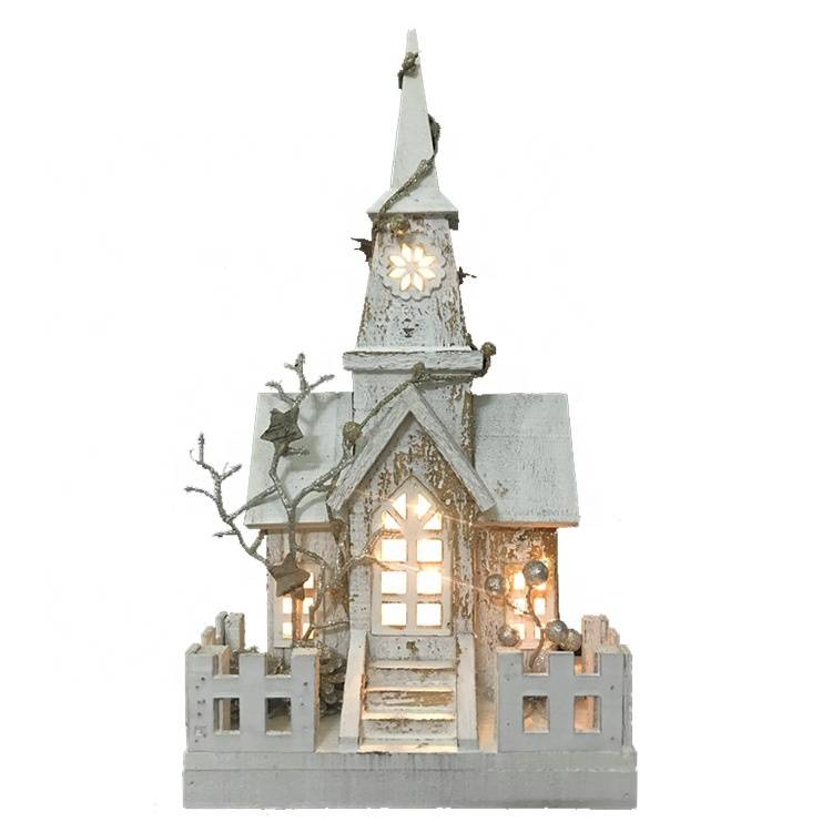Custom Noel tabletop Wooden LED lighted church house indoor decor wholesale Christmas item