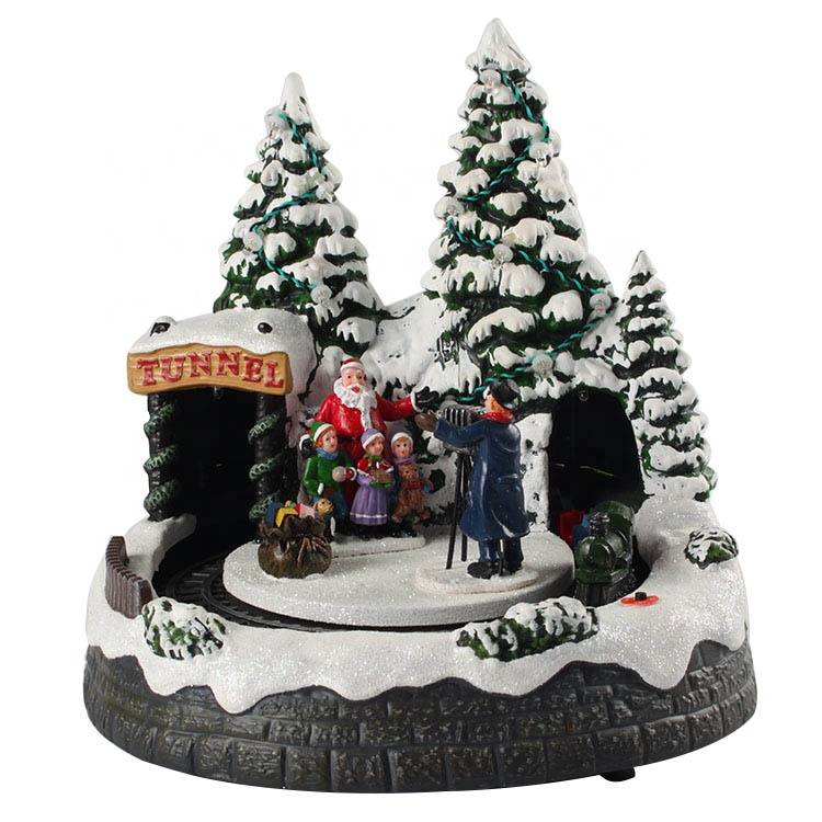 Noel animated Santa Claus Xmas tree scene Led lighted Musical Plastic Christmas Village with rotating train tunnel