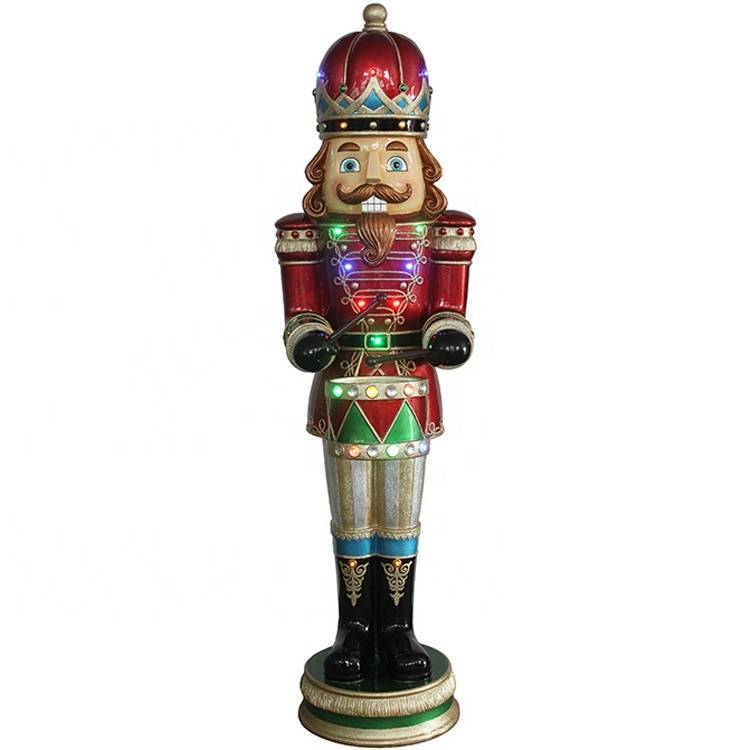 Giant outdoor decor resin fiberglass life size Christmas nutcracker soldier craft with musical led Featured Image
