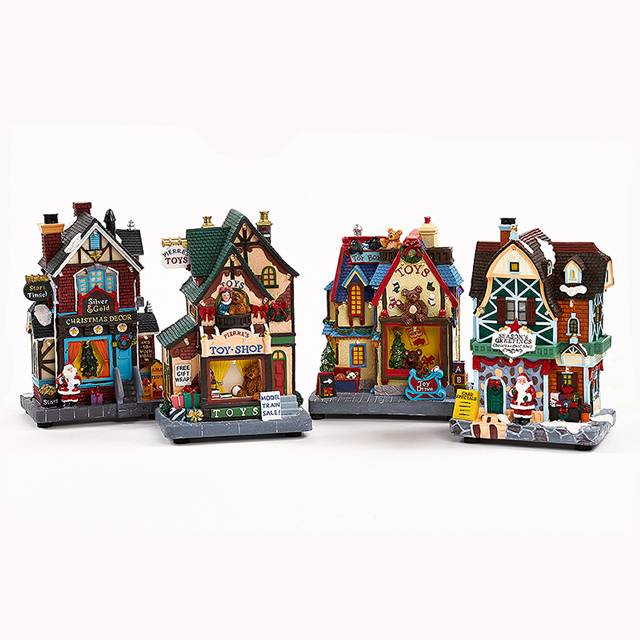Delicate design christmas nativity wood house with kids/santa/store
