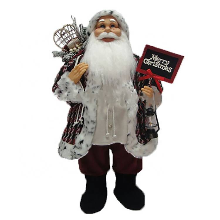 80CM Traditional Standing father Christmas plush Santa Claus figurines Xmas decoration With giftbag Featured Image