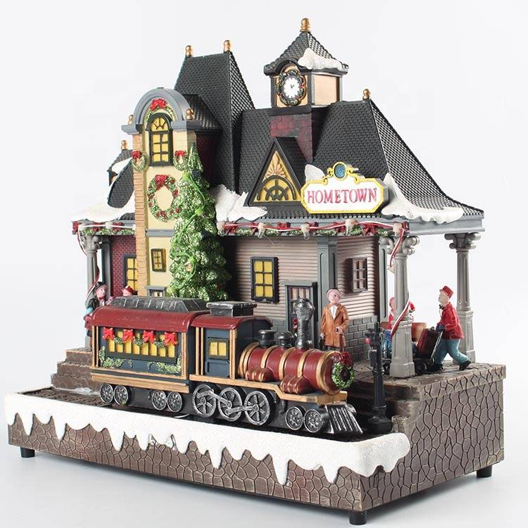 Wholesale Holiday LED Lighted Musical Animated Moving Train Station Christmas Village Decoration