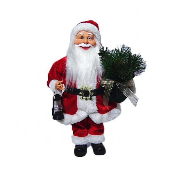Wholesale promo gift holding twigs and lantern Fabric clothes Plastic Christmas Santa Claus Featured Image