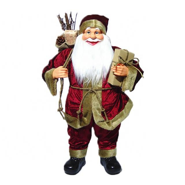 Xmas decor Wholesale customized 60 cm Plastic fabric Cloth Standing Santa Claus figurine with mistletoe bag Featured Image