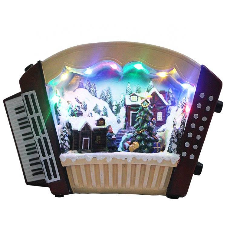 Wholesale customized Melody Led Lighted musical Resin accordion figurine Xmas Village Scene Christmas decoration Featured Image
