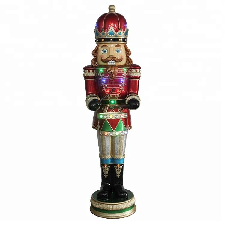 Giant outdoor decor resin fiberglass life size Christmas nutcracker soldier craft with musical led