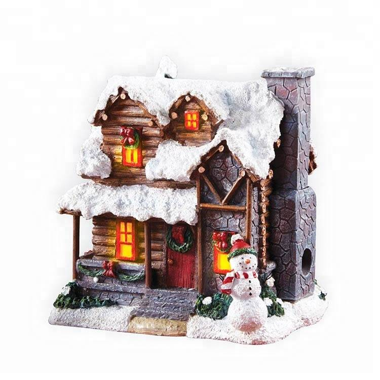 Navidad indoor table decor fiber optic polyresin Christmas village
