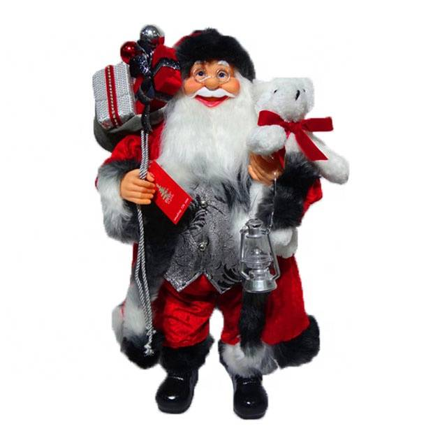 Wholesale Christmas decor gifting noel 60 cm Standing Santa Claus Doll with fabric Cloth