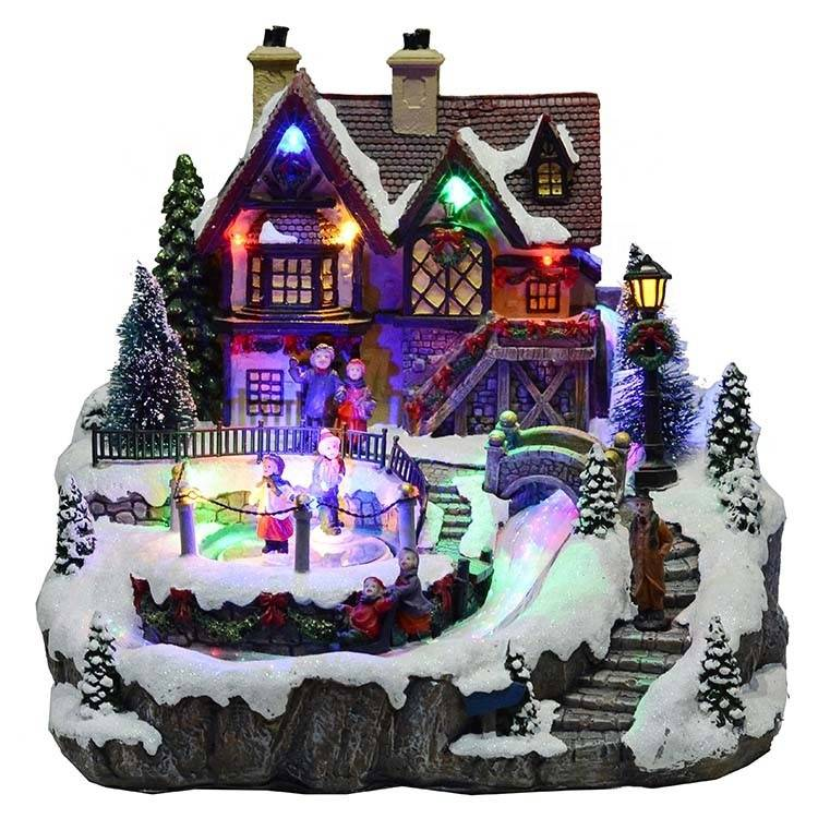 Noel Polyresin led music decor fiber optic Christmas village houses