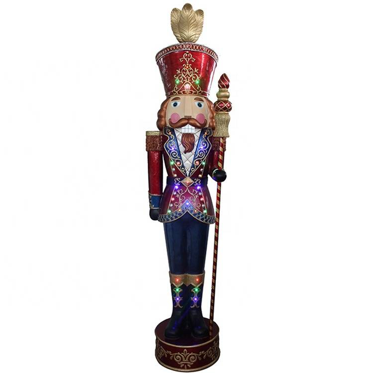 Giant resin mult led lights life size musical nutcracker decoration with Led