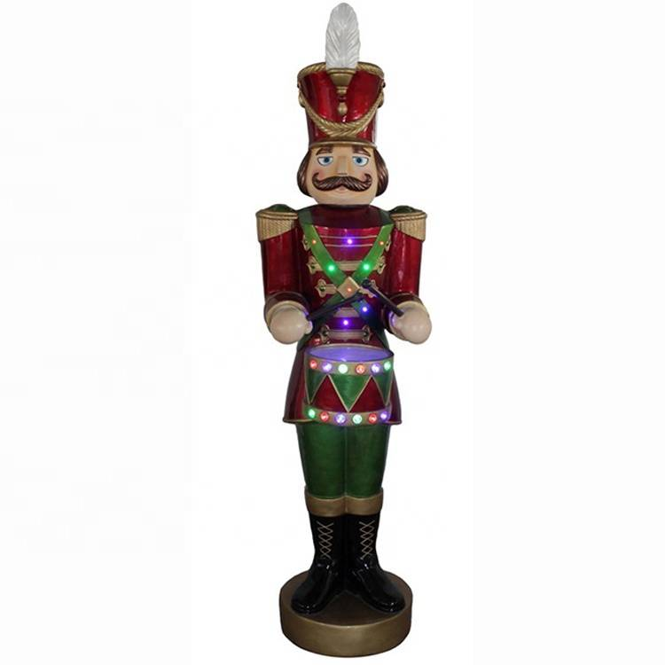 Giant Mult led movement poly resin Christmas nutcracker solider with timer