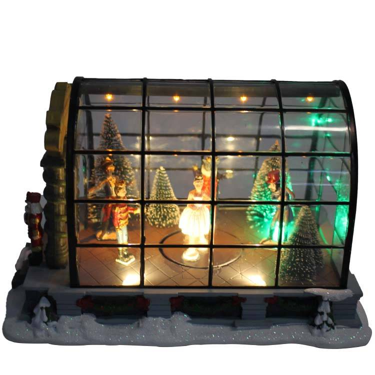 Custom 2019 Seasonal Promo gift Led dancing princess and nutcracker acrylic Christmas house