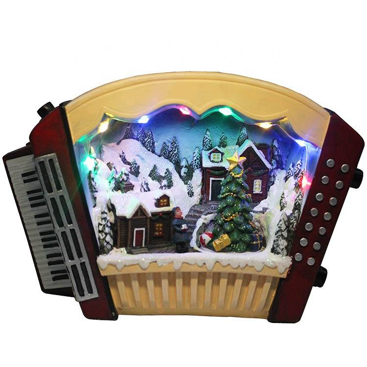 Wholesale customized Melody Led Lighted musical Resin accordion figurine Xmas Village Scene Christmas decoration
