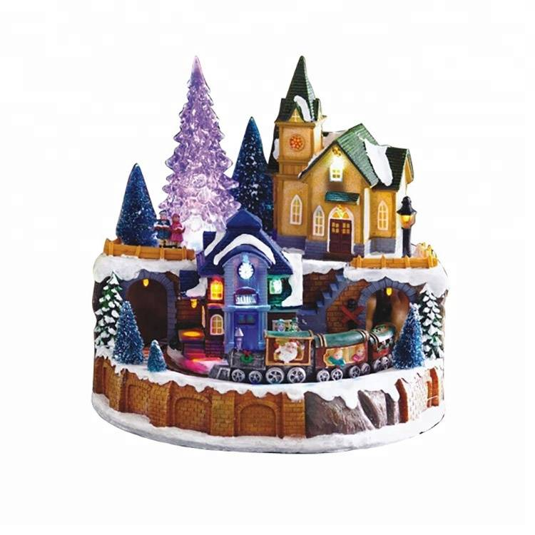 Colorful LED lighting music house with xmas scene polyresin Christmas village decoration
