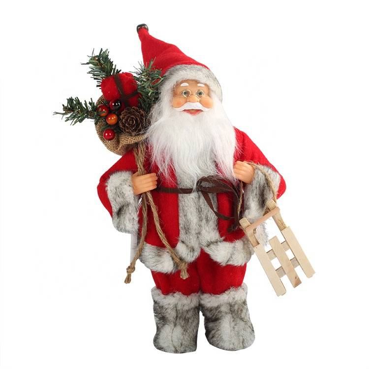 2019 best sellers Xmas gifts Supplies, standing windy red coat Santa Claus Christmas Figurine Decoration
