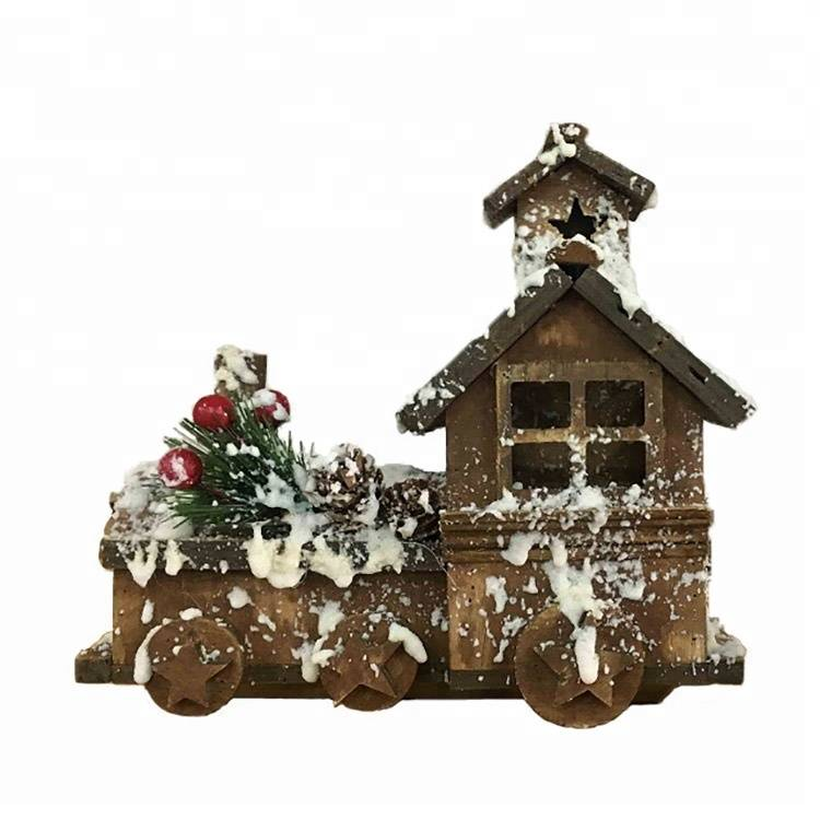 WOODEN CARRIAGE tabletop holiday decor wooden christmas Village house with snowing