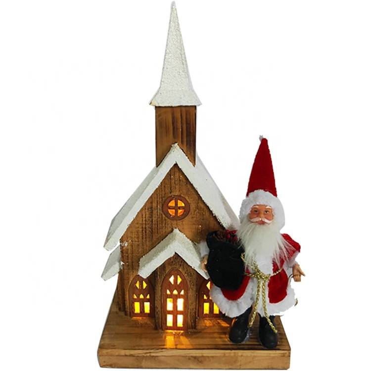 Custom Xmas home indoor decoration LED lighted Christmas village houses