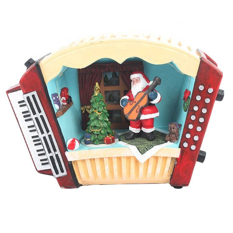 Customized Antique Resin Musical Led moving TV Santa house Christmas decor item