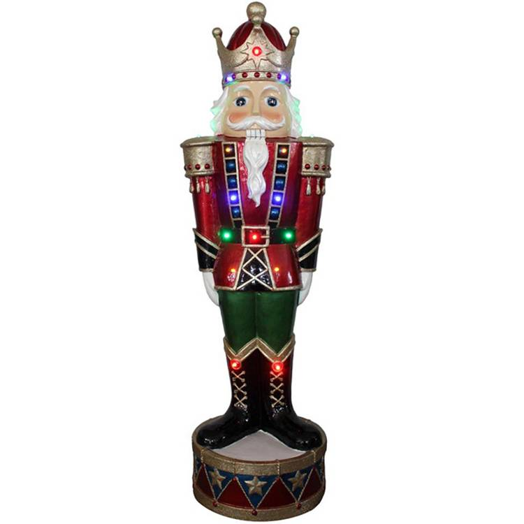 Outdoor mult led lights life size wooden Christmas soldier nutcracker decoration