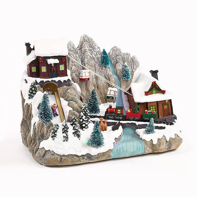 Christmas polyresin music house gondola moving train festival village decoration