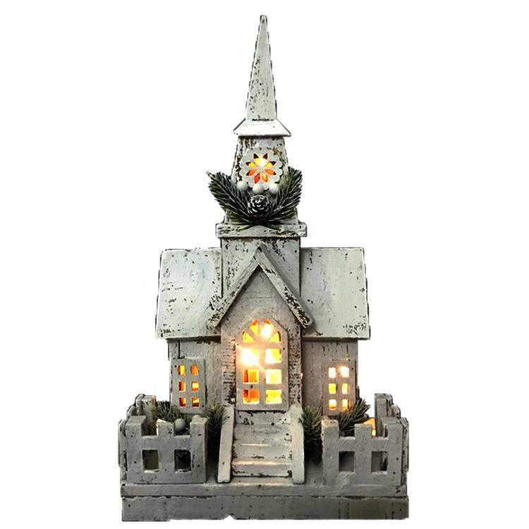 Xmas decorative LED lighted Christmas wooden church house for holiday gift