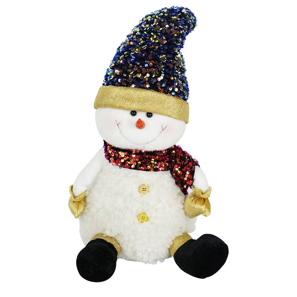Wholesale Large size Seasonal decor Christmas doll, fabric sitting snowman figurine for desk and window