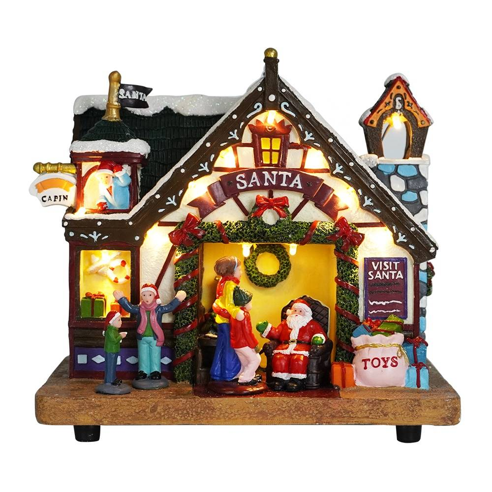 Custom Illuminated noel high quality LED lighted Christmas village with kids and Santa Claus figure