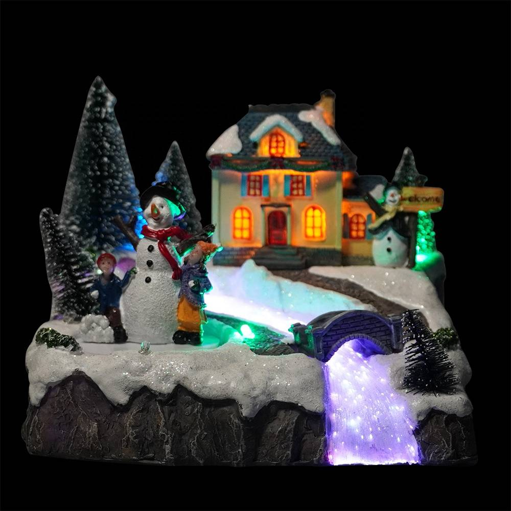 Wholesale noel holiday decor Xmas scene Resin fiber optic Christmas village houses with mult color Leds lights