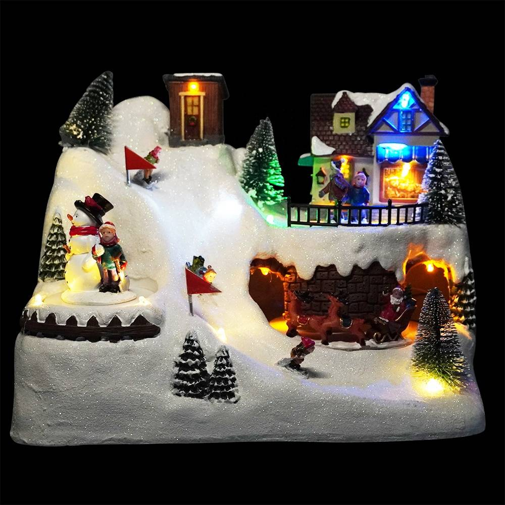 Wholesale noel 8 songs Led lighted Xmas mountain scene musical animated Christmas village with rotating train and Santa