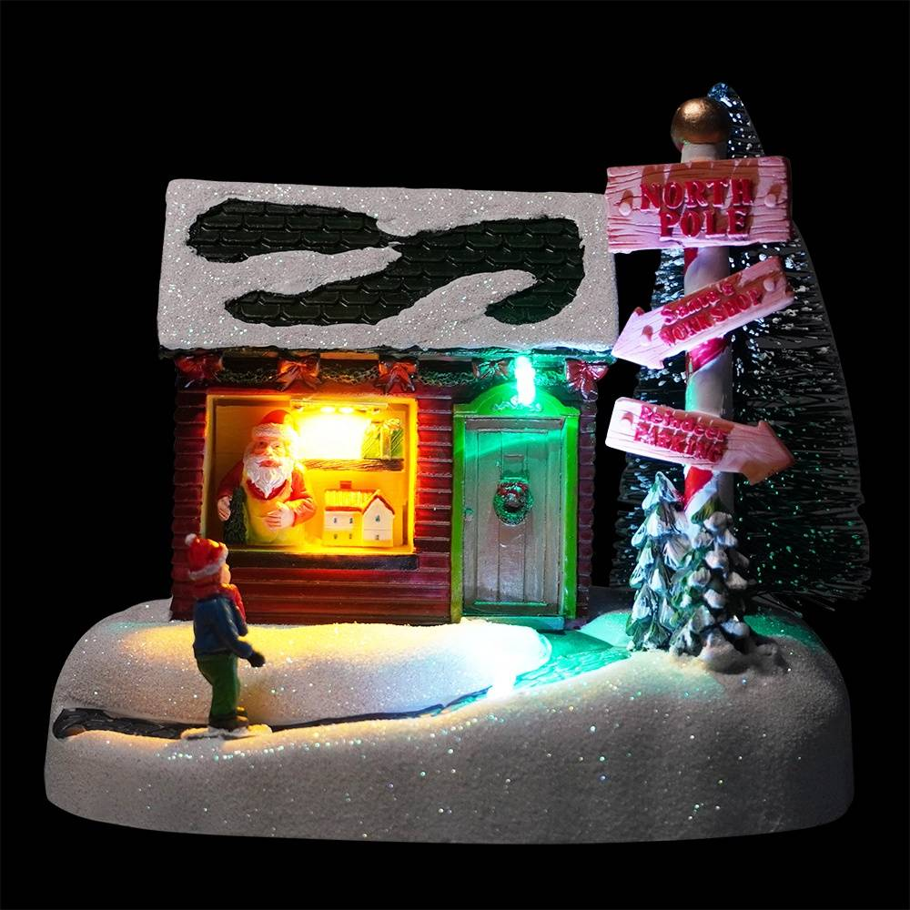 Custom noel Scene holiday time resin Led Illuminated Musical Christmas house village with 8 Xmas songs