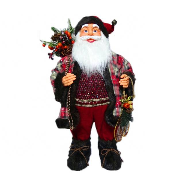 Christmas room decor figure 80 cm plastic Xmas Standing Santa Claus with sack