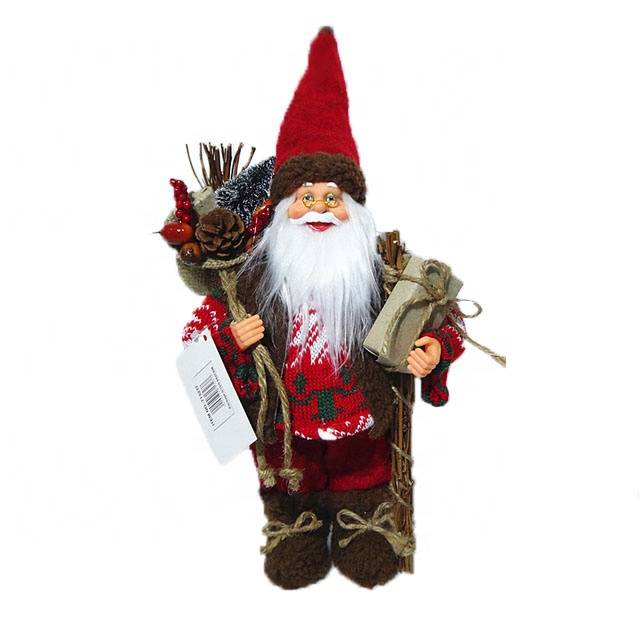 Wholesale 30 cm Nordic Xmas decor Plastic Standing Santa Claus Christmas figure in fabric cloth Featured Image