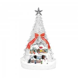 Custom Christmas Scene rotating tabletop Led Acrylic Xmas Trees Decor with music and tryme