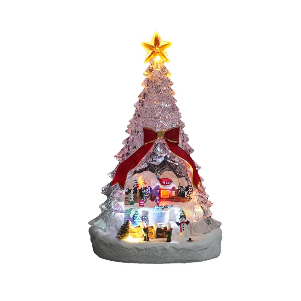 Custom Christmas Scene rotating tabletop Led Acrylic Xmas Trees Decor with music and tryme Featured Image