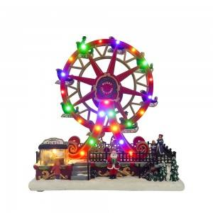 Wholesale custom made noel Led spinning musical Ferris Wheel Christmas Decoration