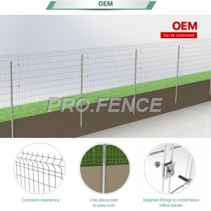 M-shaped Galvanized Welded Mesh Fence (One-piece Post) for solar farm