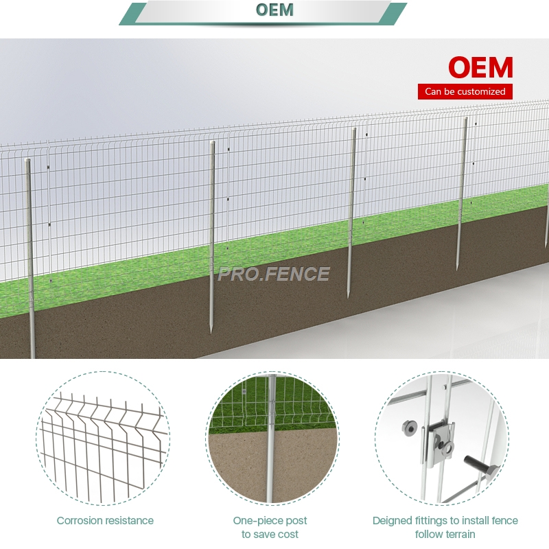 M-shaped Galvanized Welded Mesh Fence (One-piece Post) for solar farm Featured Image