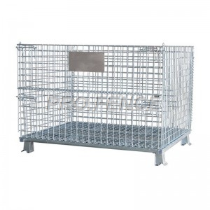 Foldable galvanized pallet mesh boxes for warehouse storage