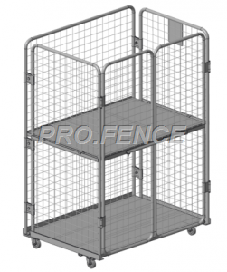 Heavy duty wire mesh roll cage trolley for material transportation and storage (4 sided)
