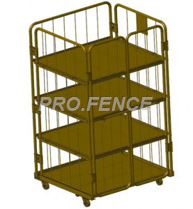 Heavy duty roll cage trolley for material transportation and storage (4 shelves)