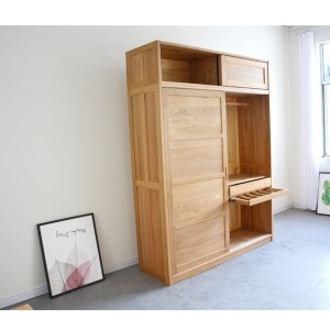 Oak Wardrobe Silent Damping Slide Rail Sliding Door Wardrobe Bedroom Furniture#0108