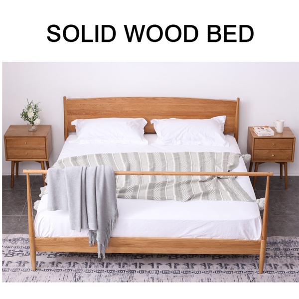 Simple Western Style Double Solid Wood Bed Bedroom Furniture Bed#0109