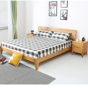 White Oak Multifunctional Double Bed Solid Wood Bedroom Bed#0113