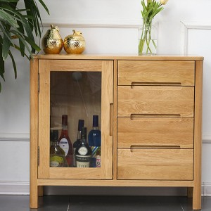 Solid wood sideboard simple storage cabinet with one door and four drawers#0105