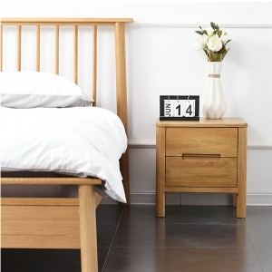 Grooved handle double-drawing bedside cabinet solid wood side cabinet#0121